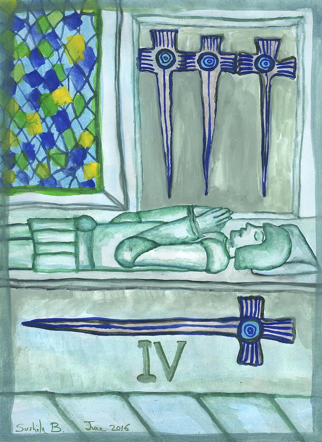 Tarot Painting - Four Of Swords Illustrated by Sushila Burgess