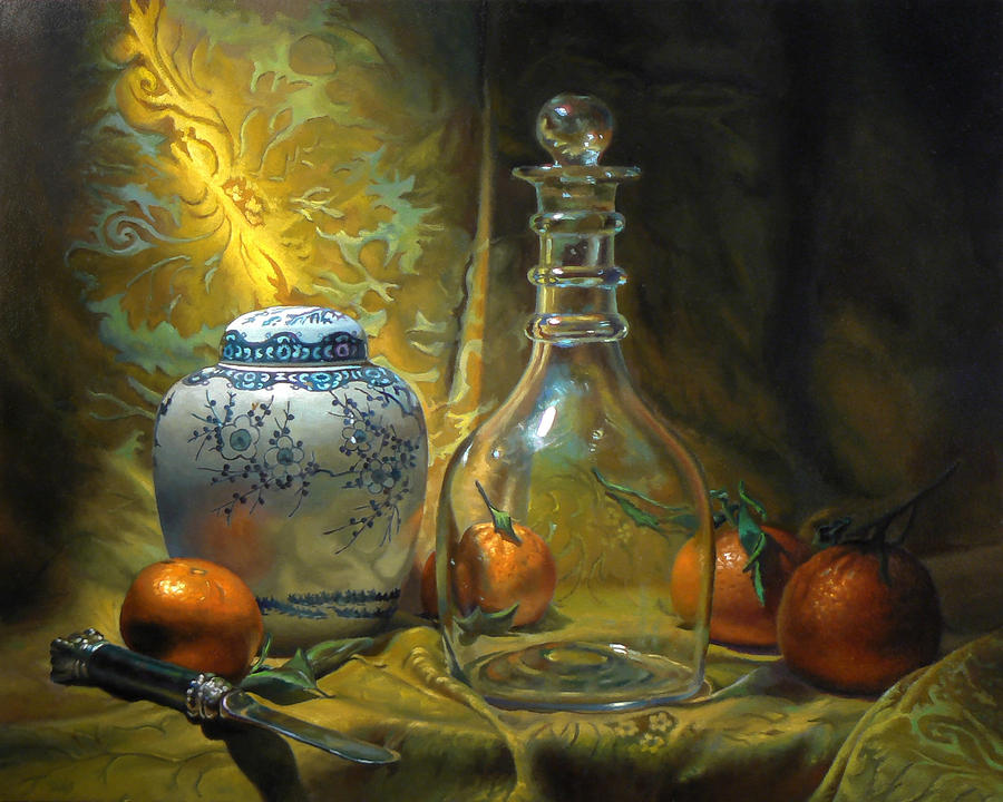 Four Oranges Painting by Jeffrey Hayes