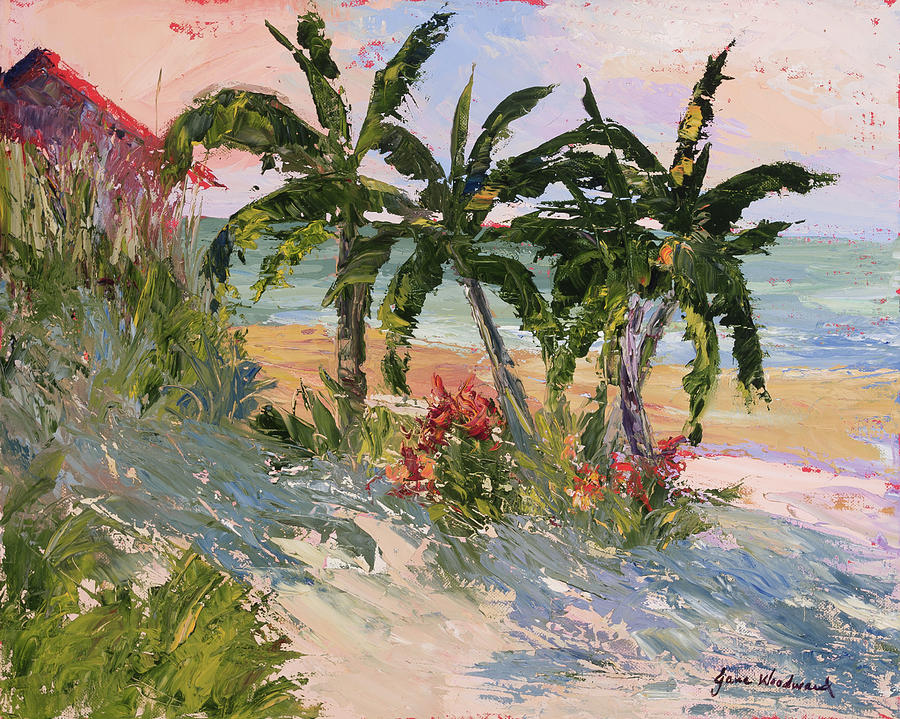 Ocean Painting - Four Palms by Jane Woodward