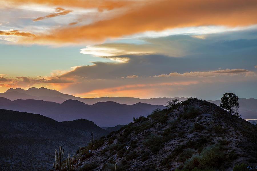 Four Peaks Arizona Photograph - Four Peaks Desert Sunset Mountain Layers by Dave Dilli