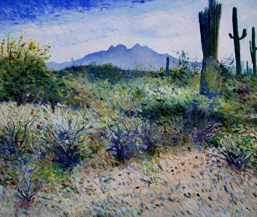 Impressionism Painting - Four Peaks Phoenix Arizona Usa 2003  by Enver Larney