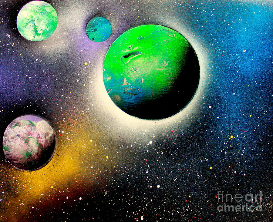 Planets Painting - Four Planets 02 E by Greg Moores