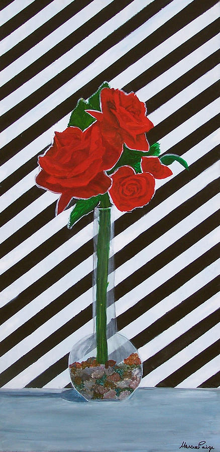 Flowers Painting - Four Roses by Marcia Paige