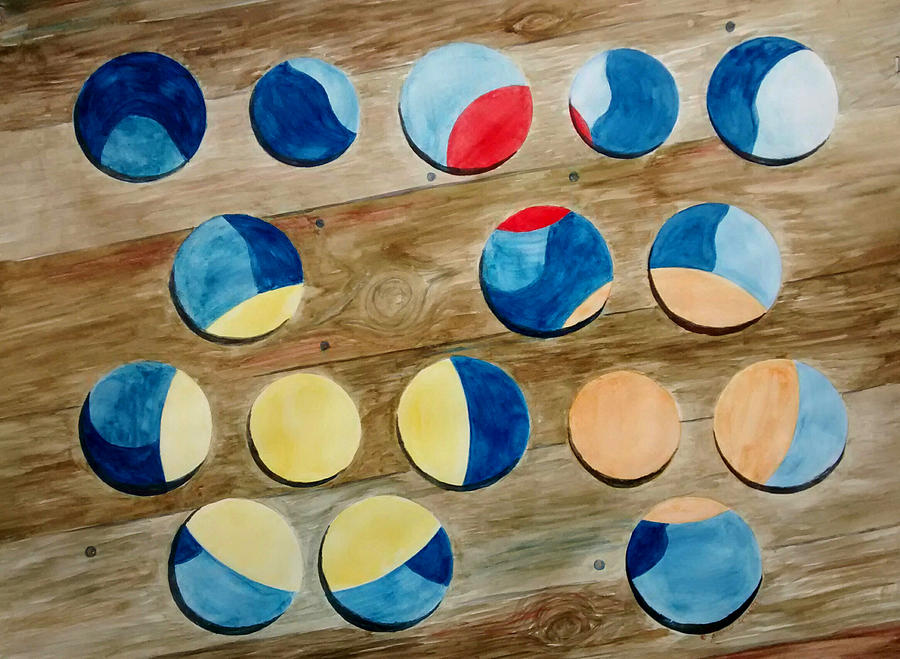 Four Rows of Circles on Wood by Andrew Gillette