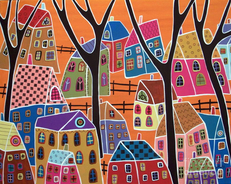 Landscape Painting - Four Trees And Houses On Orange by Karla Gerard