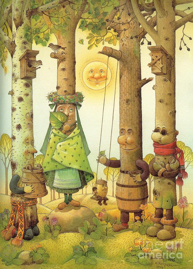 Four Trees Painting by Kestutis Kasparavicius