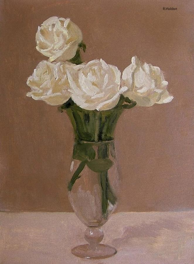 Four White Roses In A Footed Glass Vase Painting By Robert Holden