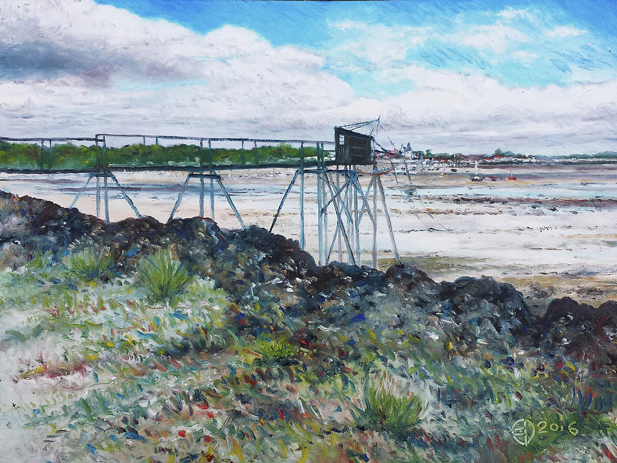 Landscape Painting - Fouras Village La Rochelle France 2016 by Enver Larney