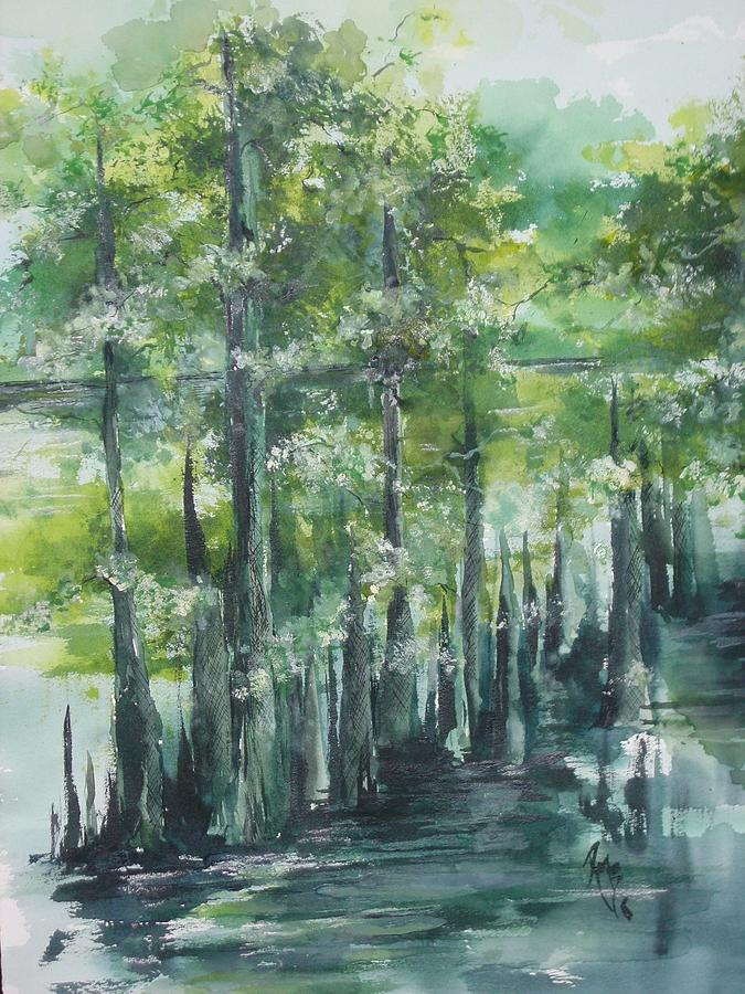 Swamp Land Painting - Fourche Creek Study Of Cyprus Trees 3 by Robin Miller-Bookhout