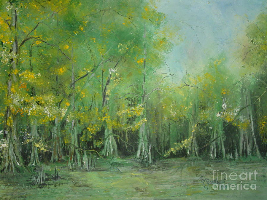 Cypress Knees Painting - Fourche Creek Study Of Cyprus Trees by Robin Miller-Bookhout