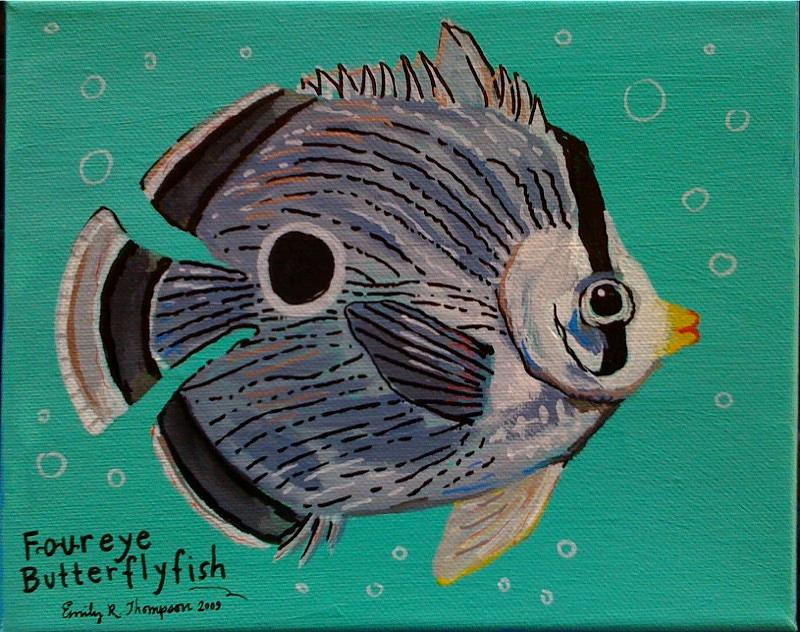 Foureye Butterflyfish Painting by Emily Reynolds Thompson