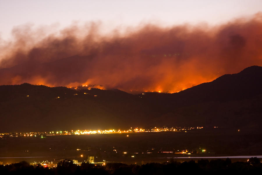 Colorado Photograph - Fourmile Canyon Fire Burning Above North Boulder by James BO  Insogna
