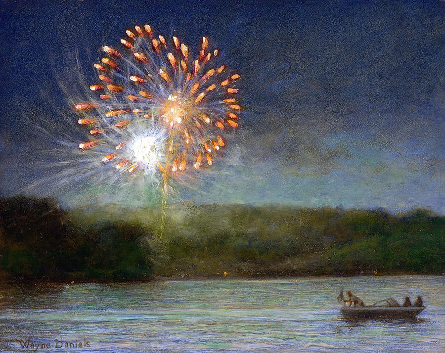 Fireworks Painting - Fourth Of July- Cazenovia Lake by Wayne Daniels
