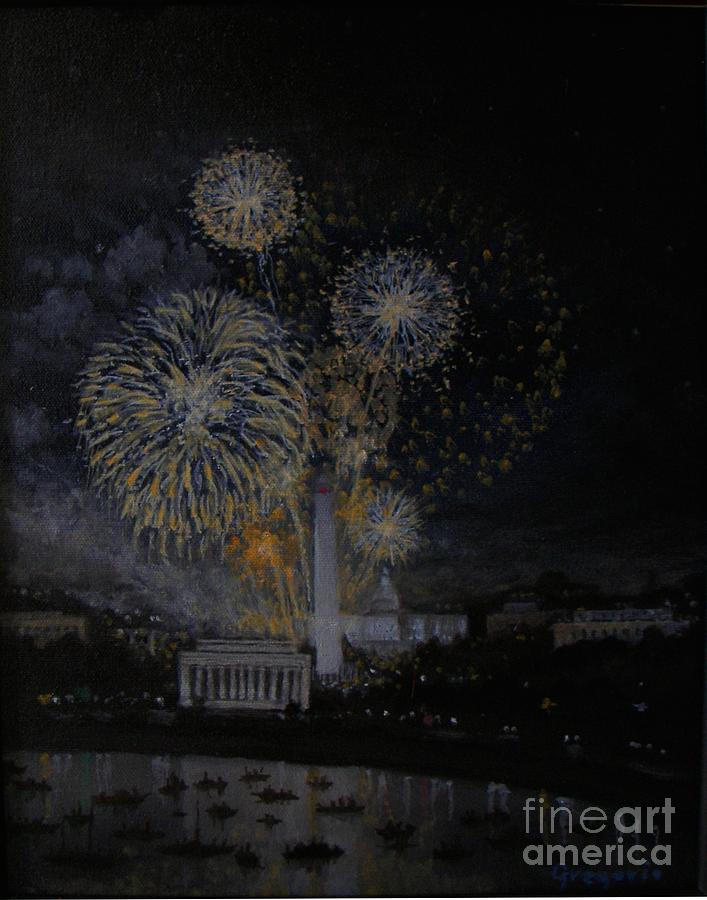 4th Fourth Of July Fireworks Washington Dc Lincoln Monument Washindton Monument Capitol Night Scene Nocturne Boats Dramatic  Painting - Fourth Of July by Gene Gregorio