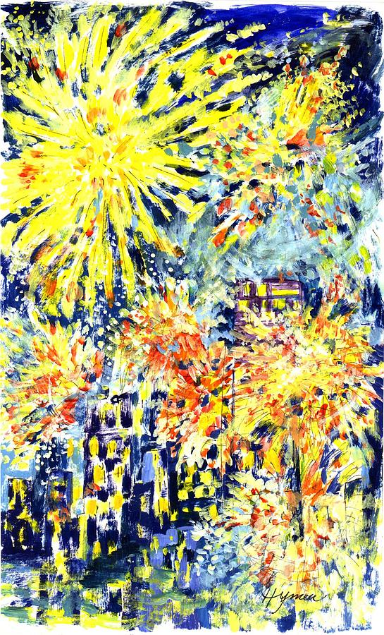 Fireworks Painting - Fourth Of July by Lily Hymen