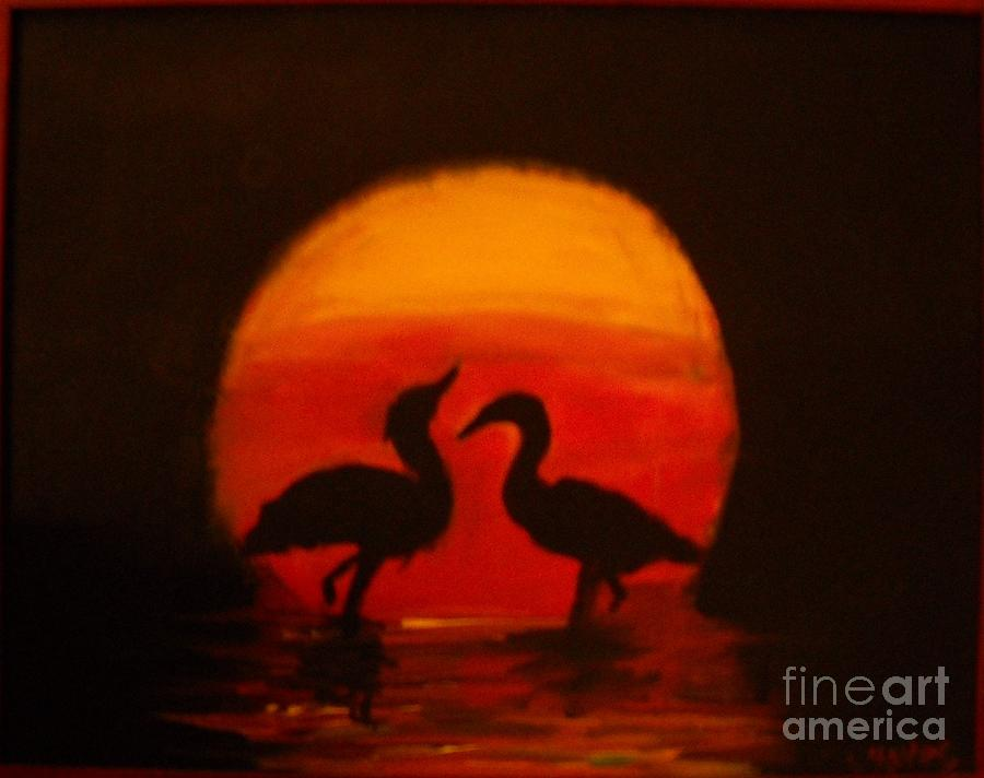 Birds Painting - Fowl Love Silhouette by Leslie Revels