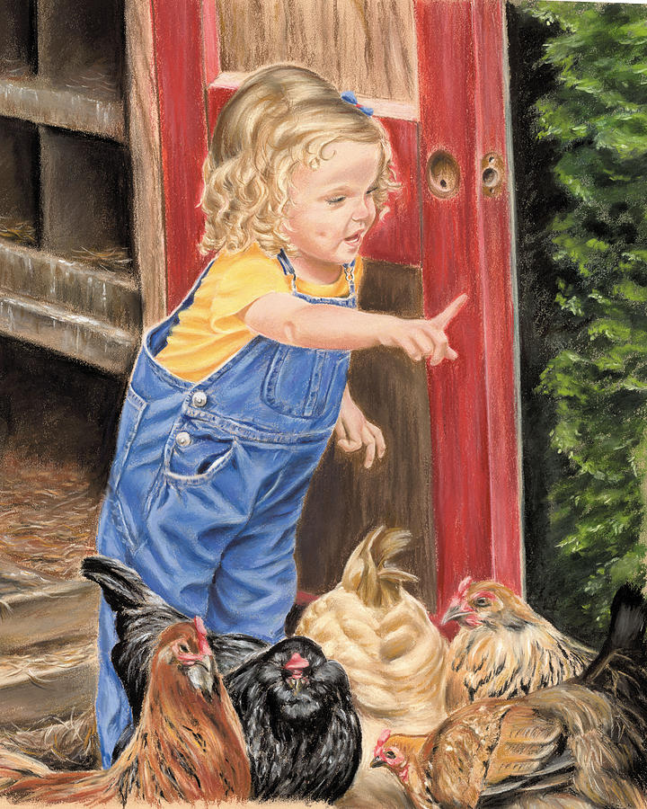 Little Girl Painting - Fowl Play by Vanda Luddy