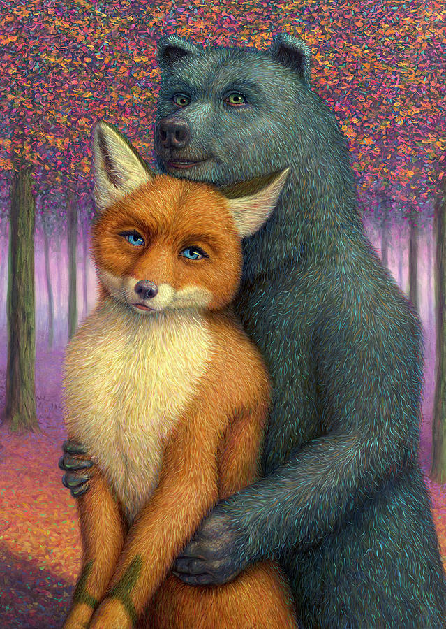 Couple Painting - Fox And Bear Couple by James W Johnson