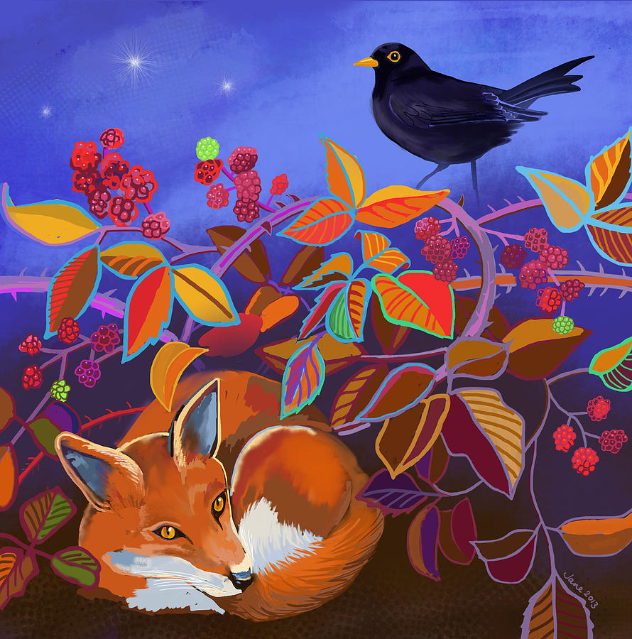 Fox Painting - Fox and blackberries by Jane Tomlinson