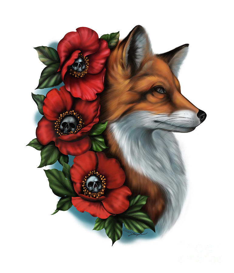 Fox and Poppies by Jenny Savoy