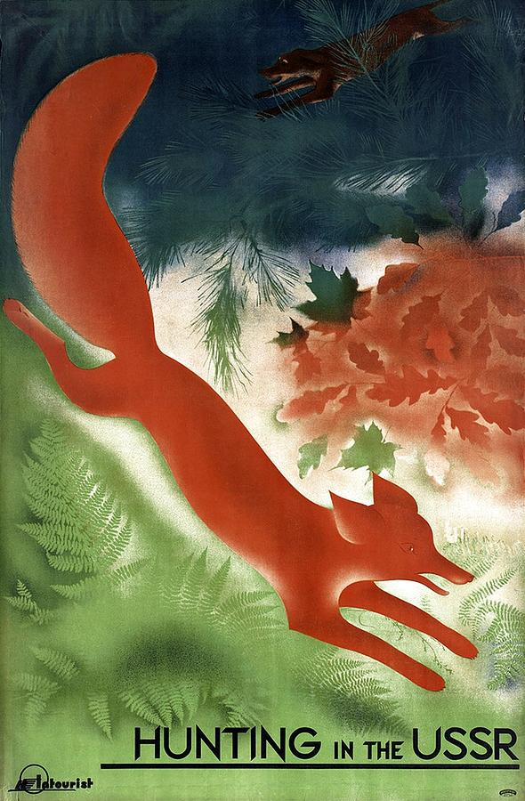 Fox Chased By A Hunting Dog Among The Woods In Russia - Vintage Poster From Ussr Painting
