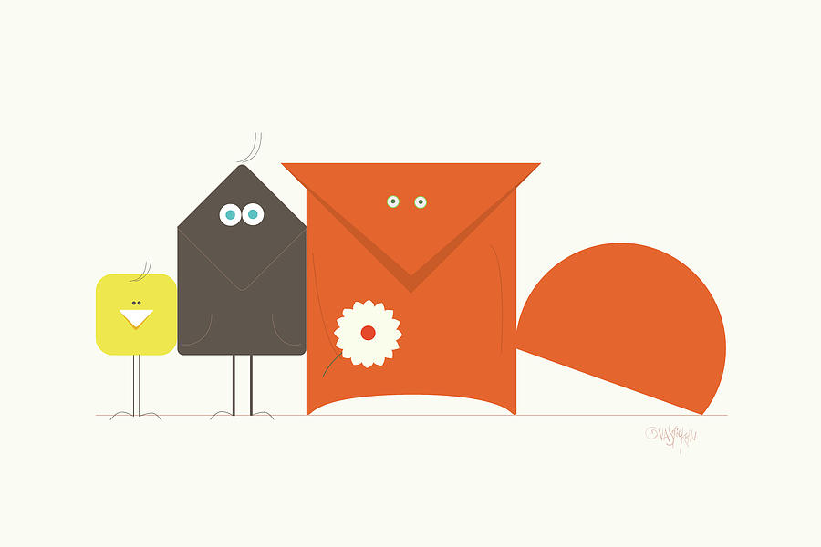 Geometry Digital Art - Fox Crow And Chick by Gala Sofie Kuhn