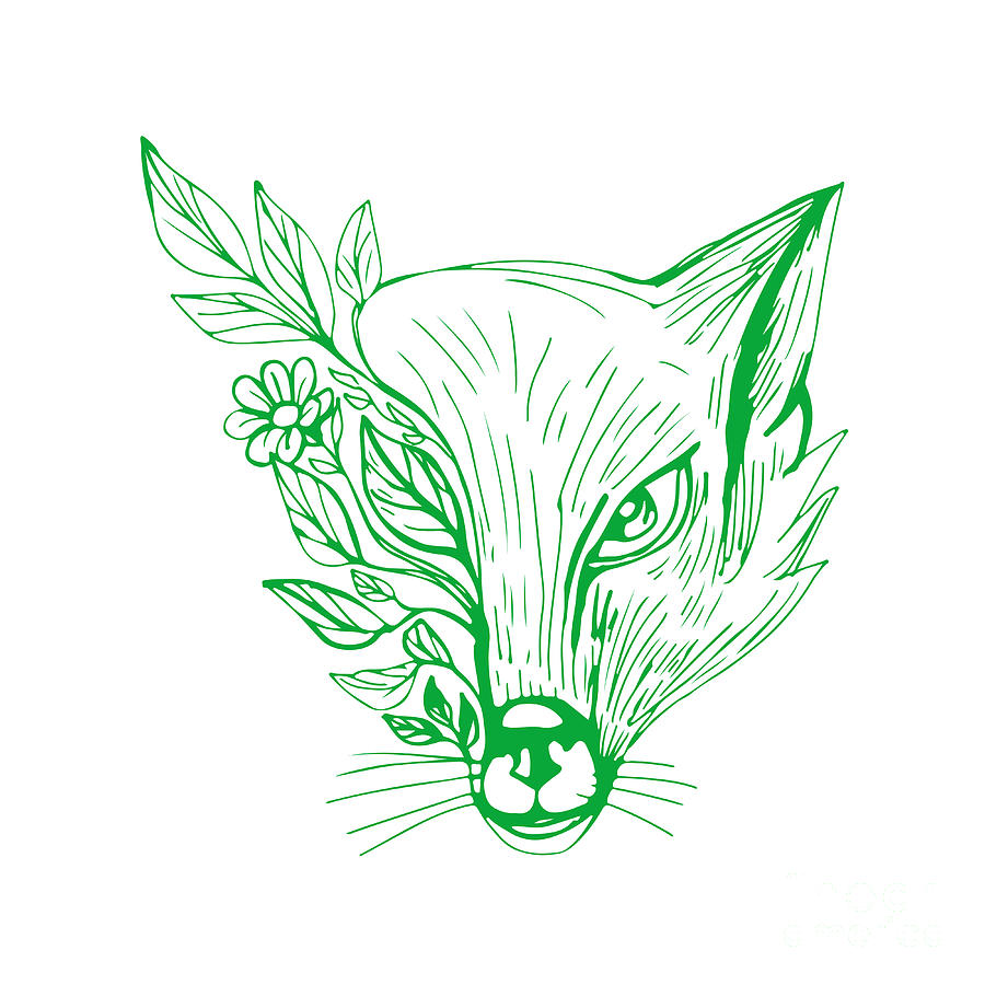 Fox Head With Flower And Leaves Drawing Digital Art By Aloysius Patrimonio