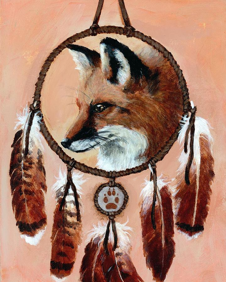 Fox Painting - Fox Medicine Wheel by Brandy Woods