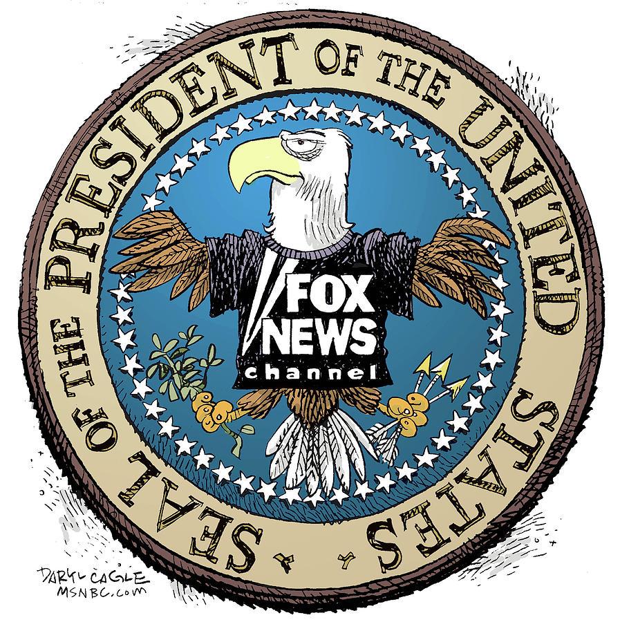 Press Secretary Drawing - Fox News Presidential Seal by Daryl Cagle