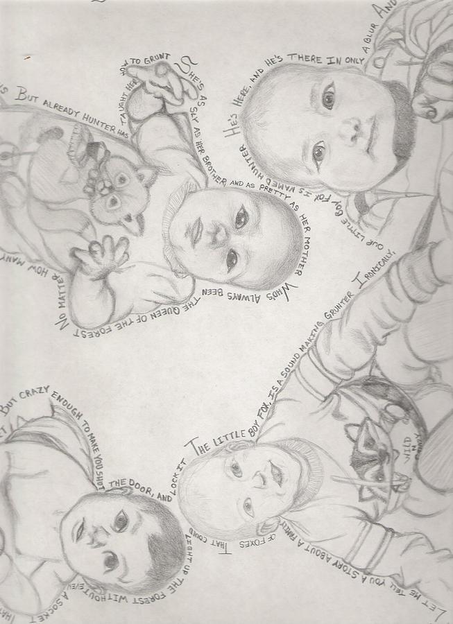 Babies Drawing - Fox Tale by Gerard  Schneider Jr