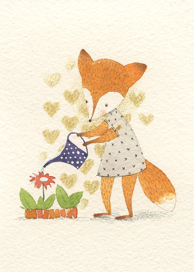 Поздравительная открытка на день матери лисенок с цветочком, рождественской