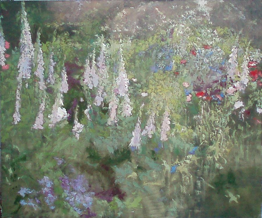 Landscape Painting - Foxgloves 2 by Krystyna Suchwallo