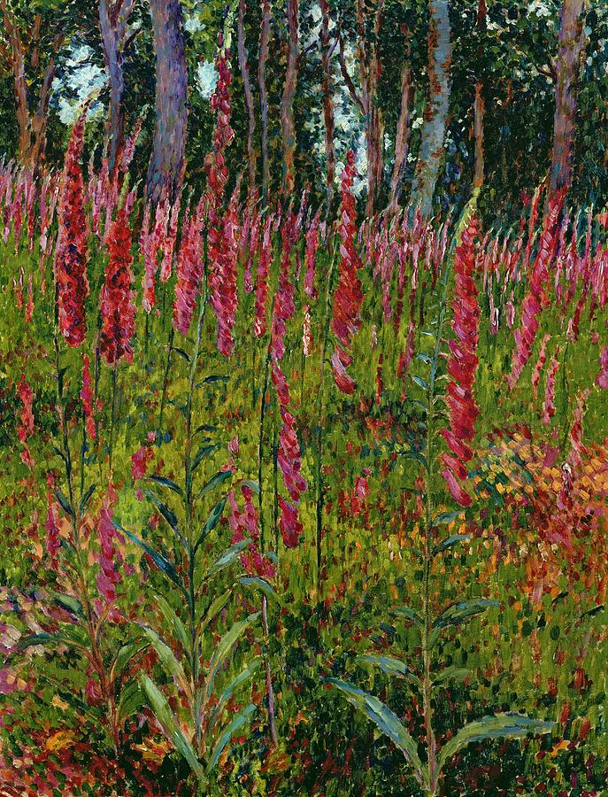 Foxgloves Painting - Foxgloves by Georges Lacombe
