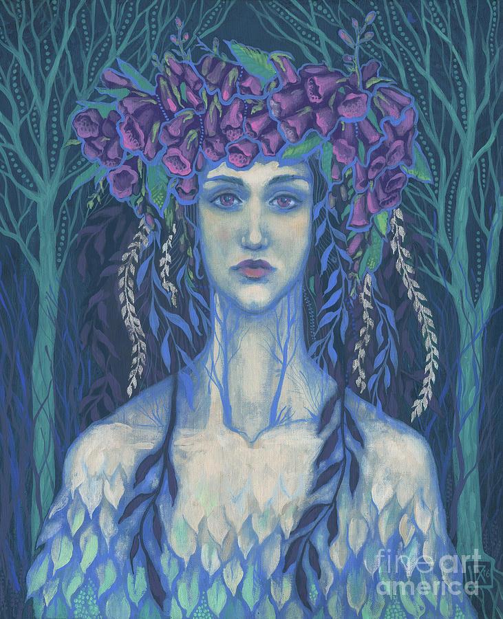 Fantasy Painting - Foxgloves by Julia Khoroshikh