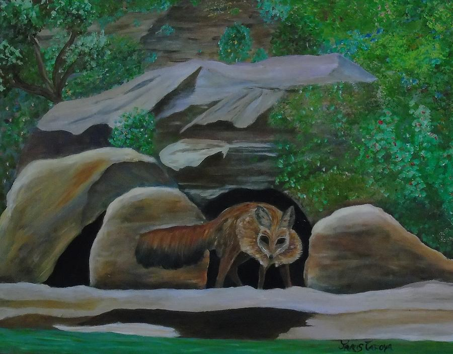 Foxie on vacation at Navajo Dam NM by Janis Tafoya