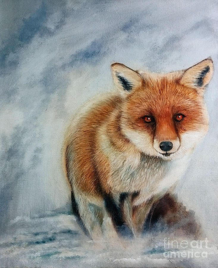 Fox Painting - Foxy by Adrian Jones