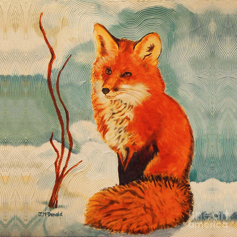Foxy Presence Throw Pillow by Janet McDonald