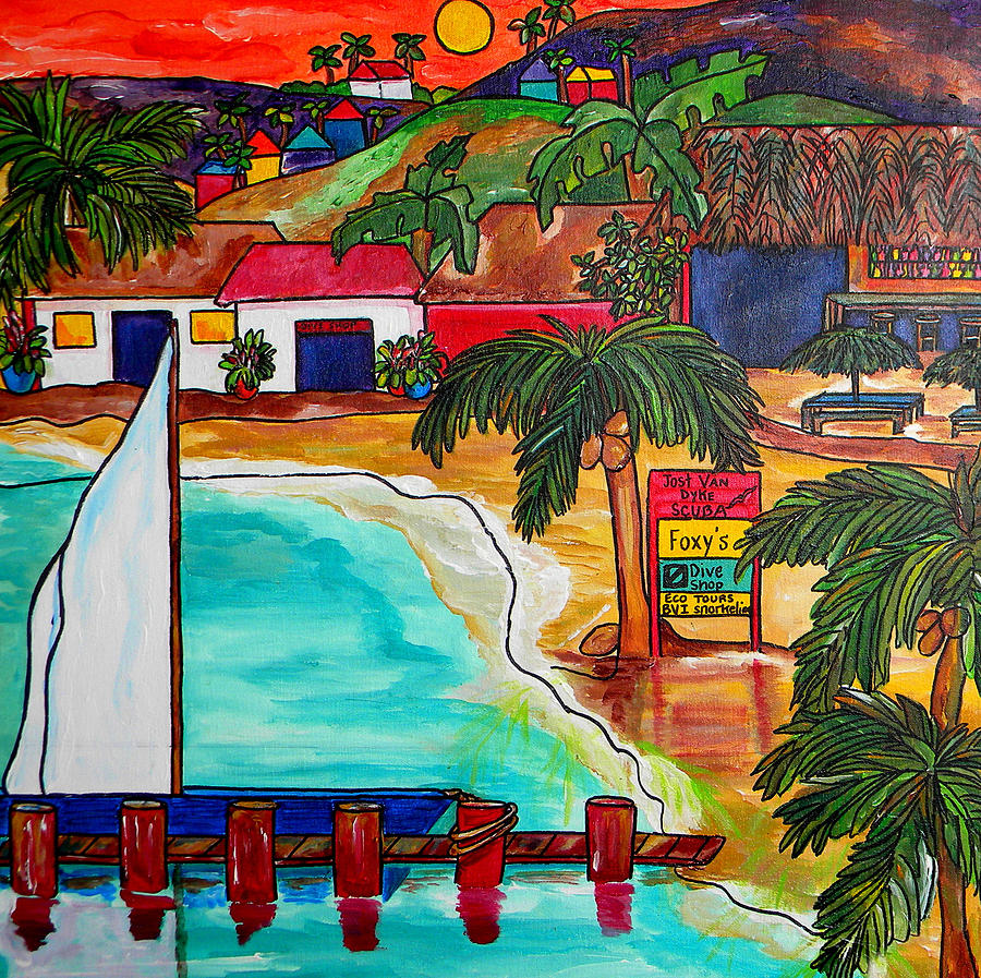 Foxy S At Jost Van Dyke Painting By Patti Schermerhorn