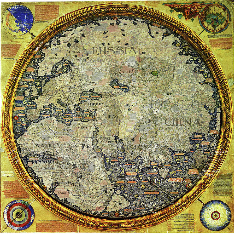 fra mauro map with modern countries c h apperson