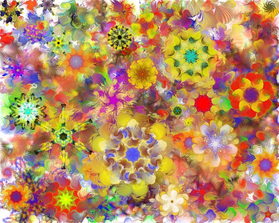 Abstract Digital Art - Fractal Floral Study 2 by David Lane