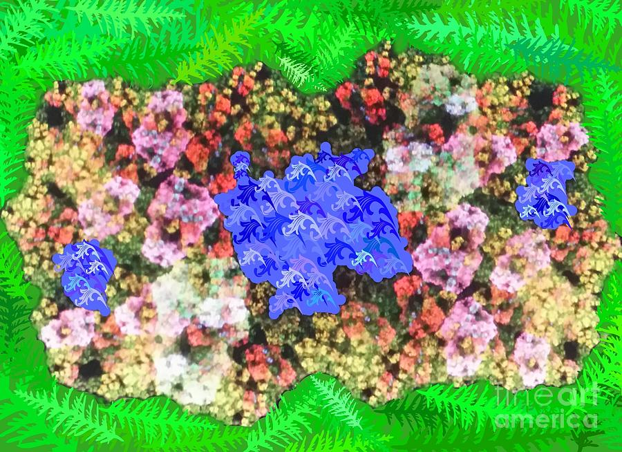 Garden Digital Art - Fractal Flower Garden by Diamante Lavendar