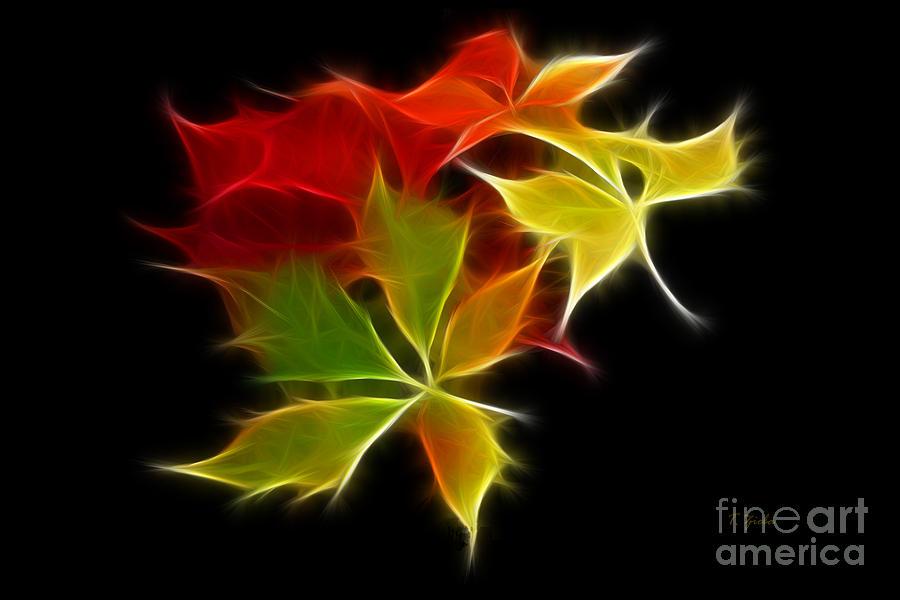 Fall Digital Art - Fractal Leaves by Teresa Zieba