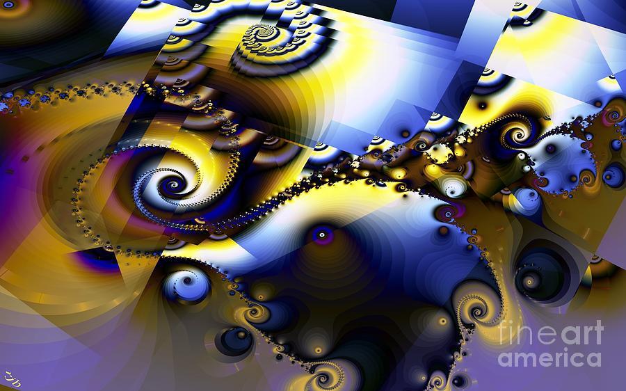 Fractal Digital Art - Fractured Fractal Spirals  by Ron Bissett