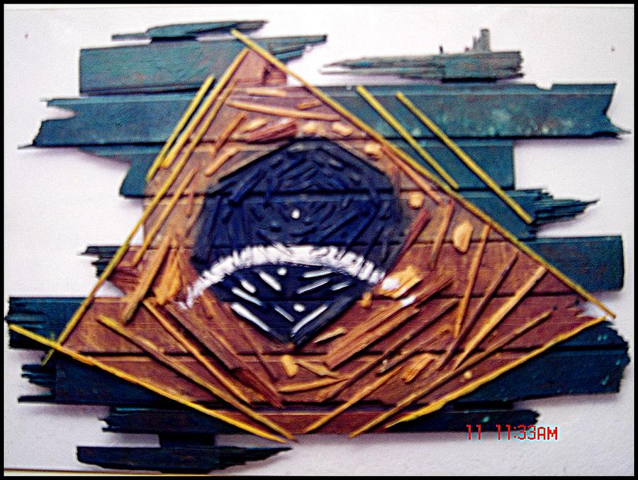 Wood Painting - Fragmented Flag by Paulo Zerbato