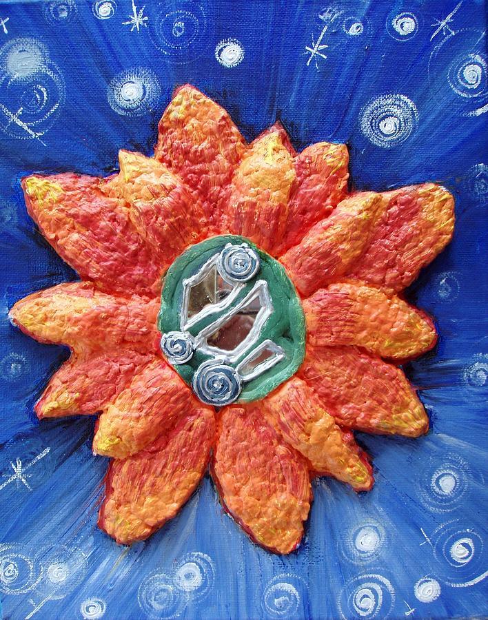 Orange Flower Painting - Fragrant Planet by Catt Kyriacou