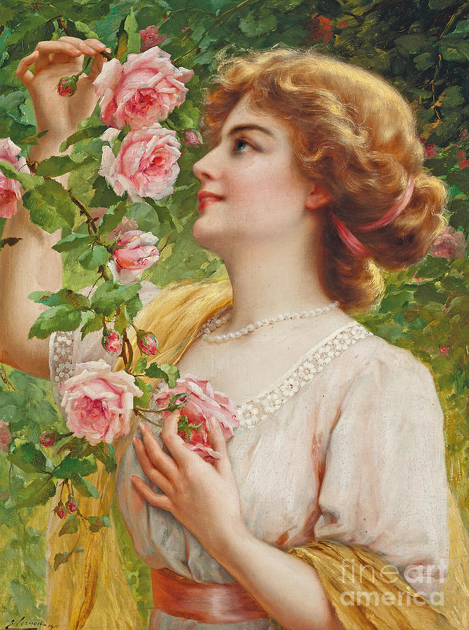 YOUNG WOMAN GIRL SMELLING ROSES FLOWERS OIL PAINTING ART REAL CANVAS PRINT