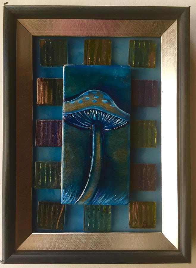 Mushroom Painting - Framed Mushroom  by Karen Doyle