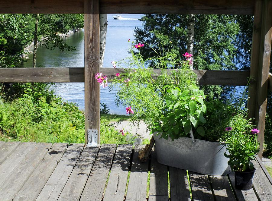 Porch Photograph - Framed View by Rosita Larsson