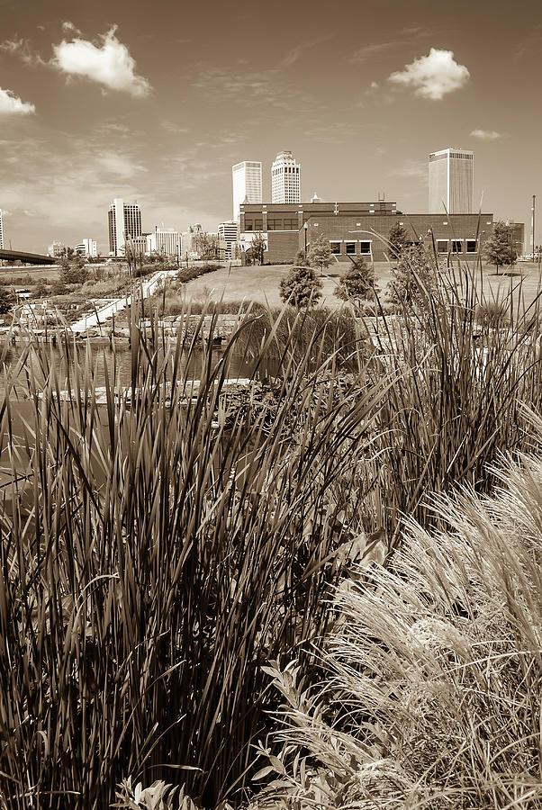 Framing The Tulsa Oklahoma Skyline - Sepia Photograph by Gregory Ballos