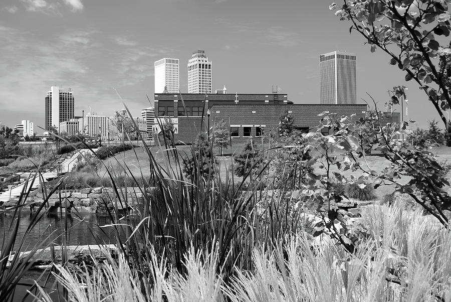 Framing The Tulsa Skyline - Black And White Photograph by Gregory Ballos